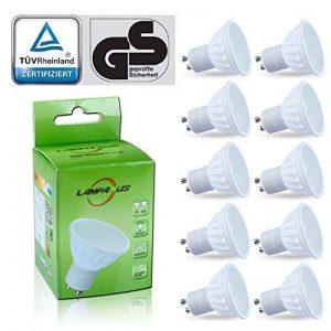 Lampaous® LED GU10, Lot de 10 ampoules,GU10 LED culot,6000k blanc froid 450lm,5w led remplace parfaitement les ampoules halogènes ordinaires de 50w. de la marque Lampaous image 0 produit