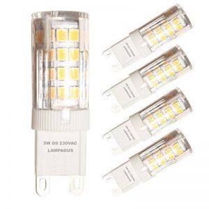 Lampaous® Lot de 4 ampoules DEL G9, couleur lumière : blanc chaud, 5W Super lumineuse 350–400lumens, équivaut à une lampe halogène G9 de 40W, angle de faisceau 360°, 220V-240 VAC, économie d'énergie, intensité non variable. de la marque Lampaous image 0 produit