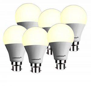 lampaous® Lot de 612W Lampe LED Ampoule LED A60GLS B22BC à baïonnette Globe, Couleur Blanc Chaud 3000K, 1200lumens Super Bright Lights 100W équivalent ampoules à incandescence, respectueux de l'environnement, Haute efficacité 85% d'économie d'énerg image 0 produit