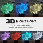 Lampe de chevet HeXie avec LED à sept couleurs changeantes, effet illusion d'optique en 3D, lampe pour la nuit avec bouton smart touch, cadeau mignon et décoration originale, idéale et artistique (cochon) de la marque HeXie image 2 produit