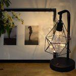Lampe de table décorative,SUAVER Rétro Atmosphère Lampe,Lampe de bureau en métal Forme de diamant Ampoule lampe de table lumière de nuit décoration lampe cadeau jouet, à piles (Blanc chaud) de la marque SUAVER image 1 produit