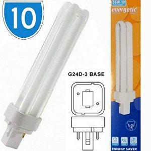 Lampe à faire consommation d'énergie avec lumière de couleur blanche et froide de 26 W. Lampe constituée de deux broches compactes de 840PLC de la marque ENERGETIC image 0 produit
