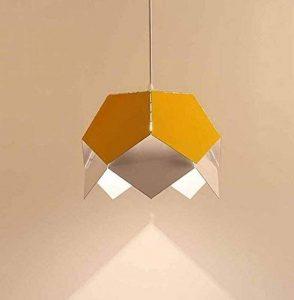 Lampe pendante créative de fer, lampe pendante creuse d'Origami de Colormatch, lustre simple d'art géométrique de tête, lampe de déco de magasin / salon / magasin de vêtements (sans ampoule) ( Couleur : Jaune ) de la marque Onfly image 0 produit