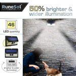 Lampe Solaire a LED x46 (Pack de 2) par RuneSol® | Eclairage led pour exterieur et détecteur de mouvements avec 46 ampoules LED | Eclairage lampe solaire jardin projecteur led sans fil | Eclairage de Patio, Jardin, Allées de la marque RuneSol image 1 produit