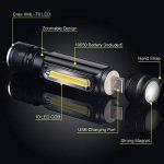 Lampe torche à LED rechargeable USB, Cofuture tactique lampe de poche 800lumens CREE T6LED lampe de travail avec aimant, étanche Mini lampe torche de camping, intérieur ou extérieur lampe de poche de la marque Cofuture image 1 produit