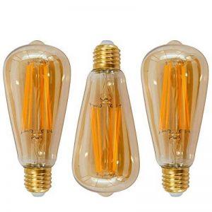 Lampes Ampoule a Filament Longue Edison E27 LED 6W ST64 Vintage Deco Retro Blanc Chaud avec Abat Jour de Verre de Revêtue Rétro, 60W Incandescent Remplacement, Lot de 3 de Enuotek de la marque ENUOTEK image 0 produit