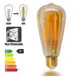 Lampes Ampoule a Filament Longue Edison E27 LED 6W ST64 Vintage Deco Retro Blanc Chaud avec Abat Jour de Verre de Revêtue Rétro, 60W Incandescent Remplacement, Lot de 3 de Enuotek de la marque ENUOTEK image 1 produit