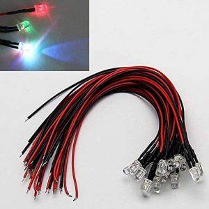 LAOMAO 1 Pack (20 Ampoules) 5mm 12V DC 7 couleurs différentes clignotant LED Pre-Wired Round Top Ampoule Lampe Pour DIY voiture Bateau Jouets Flashing Parties de la marque LAOMAO image 0 produit