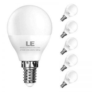 LE Lighting Ever Ampoules LED E14, 5.5W P45 470lm, 2700k Blanc Chaud, Angle de Diffusion 200°, Non-Dimmable, Equivalente à Ampoule Incandescence de 40W, Ampoule pour Lampe de Chevet, Lot de 5 de la marque Lighting EVER image 0 produit