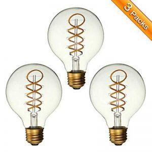 LED Edison Ampoule, Elfeland 3x E27 3W Ampoule Vintage 3W Remplace Ampoule Incandescence de 25W Filament en Spirale LED Style Rétro Antique Dimmable 2200K 180LM Lumière Blanc Chaud Globe Modèle G80 de la marque Elfeland image 0 produit