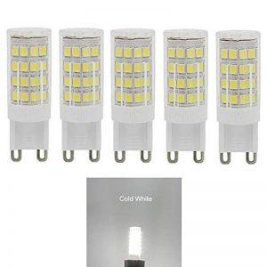Led G9,6000k Blanc froid,5w G9 LED équivalent Ampoules Halogènes de 40 W,400 lumens;Angle de faisceau 360 dégrées,basse consommation,not dimmable,lot de 5 de la marque WOWEWA image 0 produit