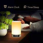 LED Lampe sans fil haut-parleur Bluetooth avec mains libres rechargeable Ampoule Snooze aufwecken Fonction de contact de contrôle Veilleuse mains libres avec multicolore et dimmbarem Lumières (Blanc) de la marque Magicpeony image 2 produit