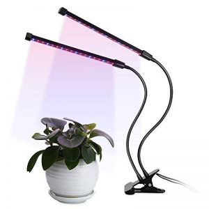 LED Plant Grow Light Double Tête 18W, 5 niveaux de Dimmable, 3/6 / 12H Timer 64 LED Chips Lumière croissante de croissance avec des ampoules de spectre rouge / bleu à intensité variable pour les plantes d'intérieur et à effet de serre, col de cygne réglab image 0 produit