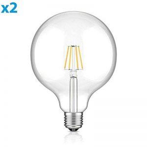 ledscom.de E27 LED Globe Ampoule Filament G125 (12,5cm Kopfdurchmesser) 8W =65W Blanche-Chaude (2700K) 850lm A++ pour l'intérieur et l'extérieur, 2 pcs de la marque ledscom.de image 0 produit