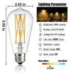 Leools LED Edison Ampoule 12 W Blanc chaud 2700 K 1200lm, 100 W équivalent E27 Medium Base, ST64 vintage LED Ampoules à filament, 360 degrés Angle de faisceau, non dimmable, Lot de 1 de la marque Leools image 1 produit