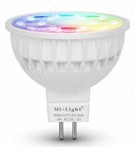 Lighteu, 1 x Ampoule LED Multicolore RVB/RGB+CCT , WiFi, 4W/GU5.3, MR16, Milight original®, intensité variable, possible de contrôler par Télécommande sans fil 2.4GHz RF, Android ou iPhone (1 x 4W/GU5.3) [Classe énergétique A+] de la marque LIGHTEU image 0 produit