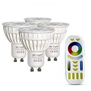 LIGHTEU, 4x 4W GU10 WiFi LED RGB + CCT Couleur originale Mi-light ® 4 Watt RVB et CCT Kelvin Variable 2700K - 6500K avec télécommande de la marque LIGHTEU image 0 produit