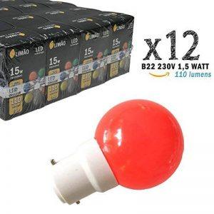 Limão - Lot de 12 ampoules LED B22 1,5W - 110 Lumens - Rouges incassables (équivalent 15W) pour Guirlande Extérieure - Ergots renforcés de la marque Limão image 0 produit