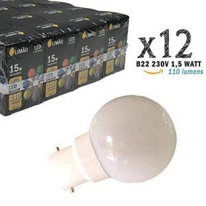 Limão - Lot de 12 ampoules LED B22 1,5W - 110 Lumens - Blanc Froid incassables (équivalent 15W) pour Guirlande Extérieure - Ergots renforcés de la marque Limão image 0 produit