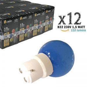 Limão - Lot de 12 ampoules LED B22 1,5W - 110 Lumens - Bleues incassables (équivalent 15W) pour Guirlande Extérieure - Ergots renforcés de la marque Limão image 0 produit
