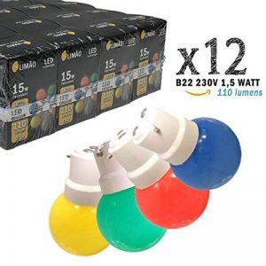 Limão - Lot de 12 ampoules LED B22 1,5W - 110 Lumens - Rouges, Bleues, Vertes et Jaunes incassables (équivalent 15W) pour Guirlande Extérieure - Ergots renforcés de la marque Limão image 0 produit