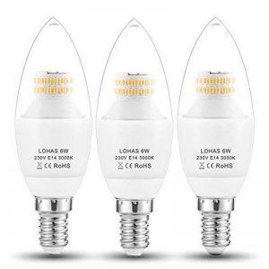 LOHAS 6Watt C37 E14 Lot de 3 Ampoule LED, 60Watt Ampoule à Incandescence Équivalent, 550lm, Blanc Chaud, 3000K, Eclairage 360°, Ampoule Bougie LED,Flamme Lampe Bougie Spot Light Bulb, Culot E14 de la marque Lohas-Led image 0 produit