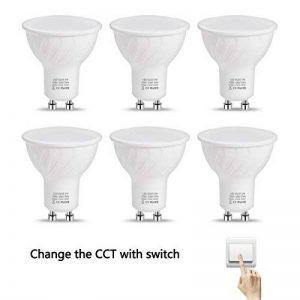 LOHAS Ampoule LED Standard Sceneswitch 3 Ambiance, 5W Équivalent 50W, Culot GU10, 500LM, Blanc 2700K-4000K-6000K, Non-dimmable, Lot de 6 de la marque Lohas-Led image 0 produit