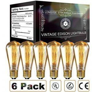 longyee Vintage Ampoule à culot à vis Edison E27 40 W Compatible avec variateur d'intensité ST64 Antique Filament Tungstène Boucle Style Quirrel Cage Tungstène Filament en verre 6 ampoules 220 V de la marque LONGYEE image 0 produit