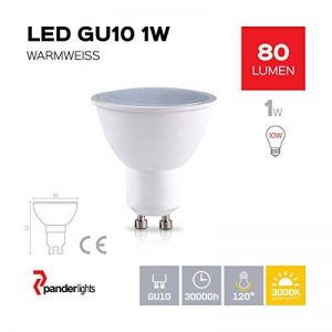 Lot de 10 ampoule lED gU10 60 lm 1,0 w (équivalent: env. 10 w) blanc chaud ampoules lED sMD angle d'éclairage 120° de la marque PanderLights image 0 produit
