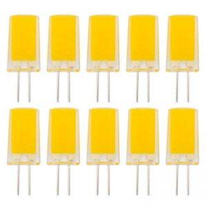 Lot de 10ampoules à LED, Mini G4220V 230V 240V 3W 280lumens COB 1909Coque en silicone lampe à lumière du jour équivalent à 25W Ampoule halogène de rechange 360° Angle de faisceau, Résine, blanc chaud, G4, 3.00W 240.00V de la marque ZHENMING image 0 produit