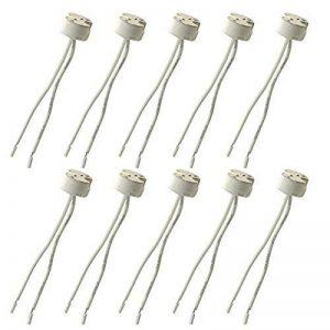 Lot de 10MR16G5.3ampoule LED Base Douille en céramique, Fineled MR16G5.3MR11support de lampe pour 12V halogène et ampoule LED, fil connecteur Base Socket Adapter de la marque FINELED image 0 produit