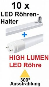 Lot de 10 tubes LED T8 / G13 – 20 W – 300 ° – Flux lumineux (2650 lm) – Blanc froid – 6000 K – remplace les tubes fluorescents de 58 à 75 W + 10 supports LED passagers / support pour tube LED blanc froid / La LED HIGH LUMEN produit beaucoup plus de lumièr image 0 produit