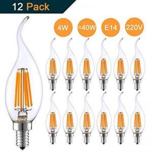 Lot de 12 4W E14 Ampoule de Filament LED Flamme Bougie 2700K Blanche Chaude Equivalent Ampoules Incandescente Halogène 40W Non-Dimmable de la marque THINKMORE image 0 produit
