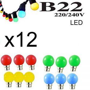 Lot de 12 ampoules Led B22 1W Guirlande Rouge, Jaune, Verte, Orange, Rose, Bleu, Blanc Incassable (équivalence 15W) (12x Rouge Jaune Verte Bleu) de la marque Revenergie image 0 produit