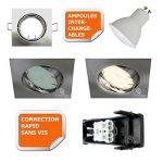 LOT DE 15 SPOT ENCASTRABLE ORIENTABLE LED CARRE ALU BROSSE GU10 230V eq. 50W BLANC CHAUD de la marque Lampesecoenergie image 2 produit