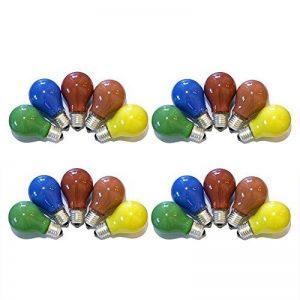 Lot de 20ampoules colorées 25W E27- Rouge/jaune/vert/bleu/orange pour l'extérieur et l'intérieur - Fête et biergarten de la marque NCC-Licht image 0 produit