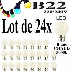 Lot de 24 ampoules Led B22 1W Guirlande Blanc chaud 3000k Incassables (équivalence 15W) de la marque Revenergie image 0 produit
