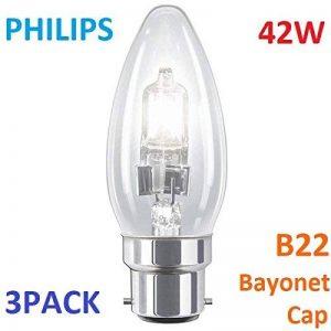 Lot de 342W Philips B22B35Bougie Eco classique ampoule à économie d'énergie Lumière halogène de haute qualité B22BC Culot à baïonnette, forme de bougie, finition transparente de la marque Philips image 0 produit