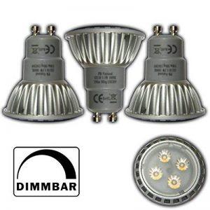 Lot de 3 ampoules à lED 5,5 w spot gU10 à intensité variable blanc chaud 3000 k ampoules ampoule à incandescence réflecteur spot se substitue aux ampoules halogènes variateur pour lampe de la marque PB-Versand image 0 produit