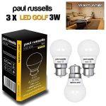 Lot de 3ampoules LED 3W Golf B22BC à baïonnette Paul Russels lumineux 3W = 25W G45Petite boule de globe 270Faisceau lampe 2700K Blanc chaud 25W Ampoule à incandescence de remplacement de la marque paul russells image 1 produit