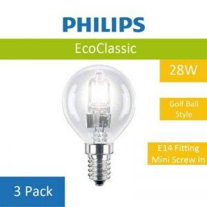 Lot de 3de 28W Philips P45Eco classique ampoule à économie d'énergie Lumière halogène de haute qualité E14à vis en forme de fixation, balle de golf, finition transparente de la marque Philips image 0 produit