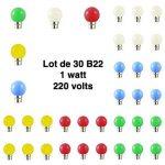 Lot de 30 ampoules led B22 pour guirlande lumineuse (5 couleurs différentes) - Couleur - RGB de la marque Vision-EL image 1 produit