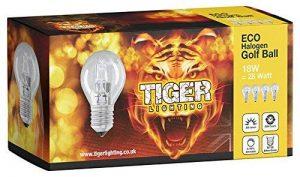 Lot de 4G45(ES) culot à vis (E27) Eco Halogène Dimmable ampoule Balle de golf/mini globe, Watt équivalent au Watt, 2000heures Durée de vie ampoules halogènes, lumens. de la marque TIGER LIGHTING image 0 produit