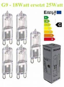 Lot de 5 ampoules halogènes G9 à intensité variable - 230 V, 18 W (équivalent à 25 W) - Classe d'efficacité énergétique: C de la marque Trango image 0 produit