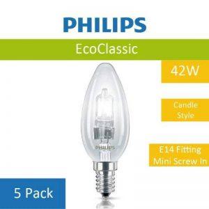 Lot de 5 B35 Eco 42W Philips Ampoule à économie d'énergie de 2 Lampe Halogène Clair E14 Plafonnier à vis à économie d'énergie Forme bougie Transparent finition de la marque Philips image 0 produit