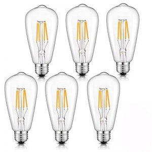 Lot de 6 Ampoule LED à Filament Dimmable E27 ST64 Retro Edison Vintage 400 Lumens 4W Equivalent à Ampoule Halogène de 40W Angle de Faisceau 360 ° pour la Décoration 3000K-Blanc Chaud de la marque Laixiulife image 0 produit