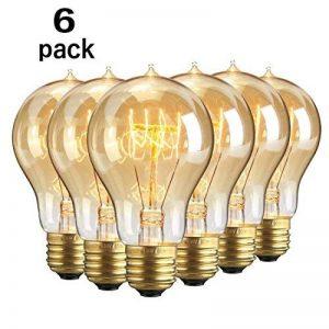 Lot de 6 ampoules Edison vintages E27 - 60W - À filament - 220V - Blanc chaud - Transparentes -À suspendre, A19/60w, E27 60.0W de la marque Solobay image 0 produit