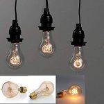 Lot de 6 ampoules Edison vintages E27 - 60W - À filament - 220V - Blanc chaud - Transparentes -À suspendre, A19/60w, E27 60.0W de la marque Solobay image 3 produit