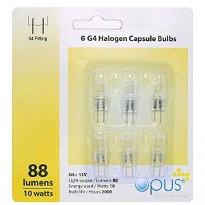 Lot de 6 ampoules Halogènes G4 12v 10w de la marque Opus Lighting Technology image 0 produit
