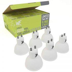 """Lot de 6 ampoules LED WhozzEco GU10 5w blanc chaud 3000k 400 lumens équivalent à 50w halogène, offre bénéficiant de la garantie """"satisfait ou remboursé"""", ampoules de rechange direct – ampoules spot éclairage lumière du jour naturelle non réglables appropr image 0 produit"""